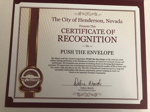City of Henderson Welcome PUSH the Envelope™ as a New Member of the Business Community with Laura Hess and Philip Cohen